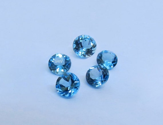 Wholesale Lot Natural Swiss Blue Topaz Round Calibrated Size Loose Gemstone