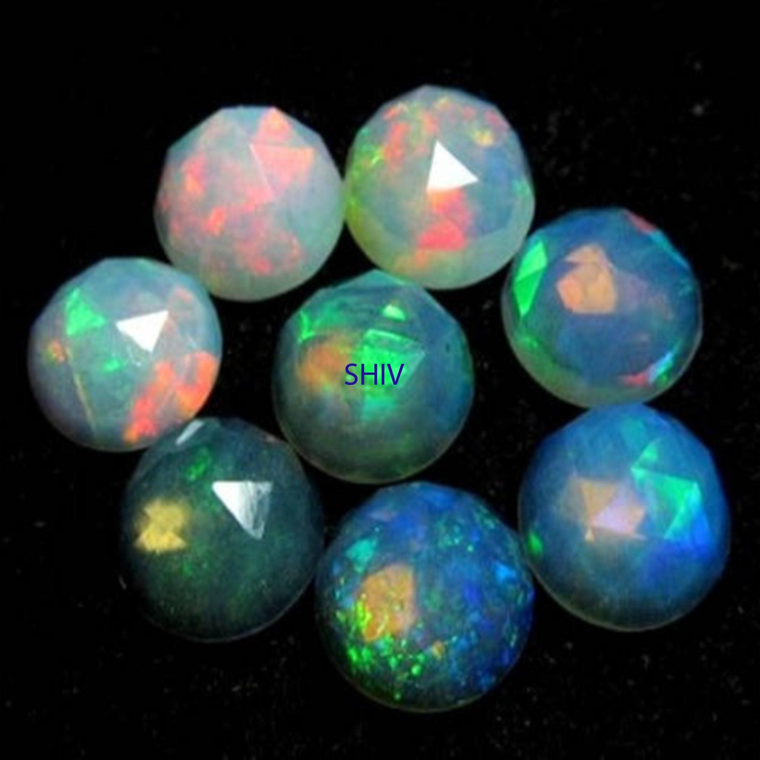 AAA 5X5 MM Black Opal Round rose cut cabochon 100/% Natural Multi fire Ethiopian Black Opal Round rose cut cabochon loose gemstone