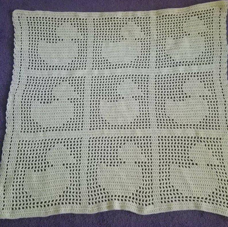 Filet Crochet Duck Baby Blanket Ready To Ship Etsy