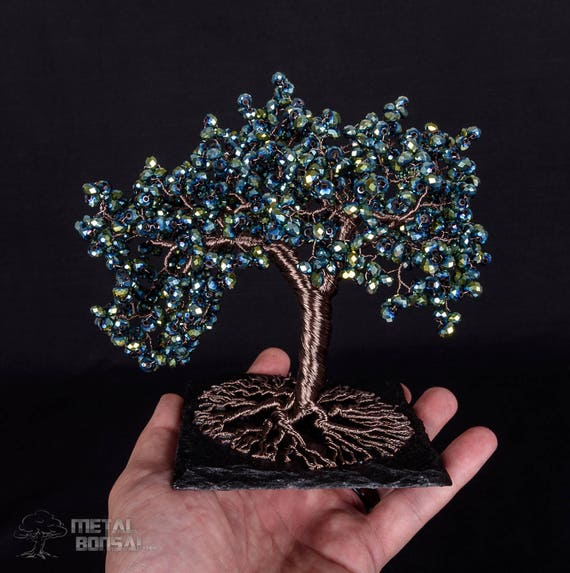 Green Wire Tree Sculpture On Slate Base Wire Tree Sculpture Etsy