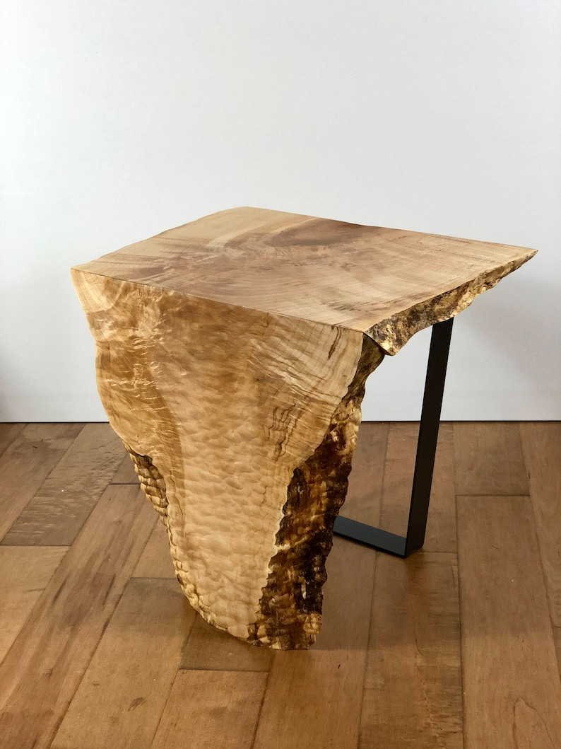 Maple Wood Coffee Table.Sold Live Edge Maple Wood Waterfall End Table Modern Wood Side Table Slab Furniture Natural Edge Furniture Quilted Maple