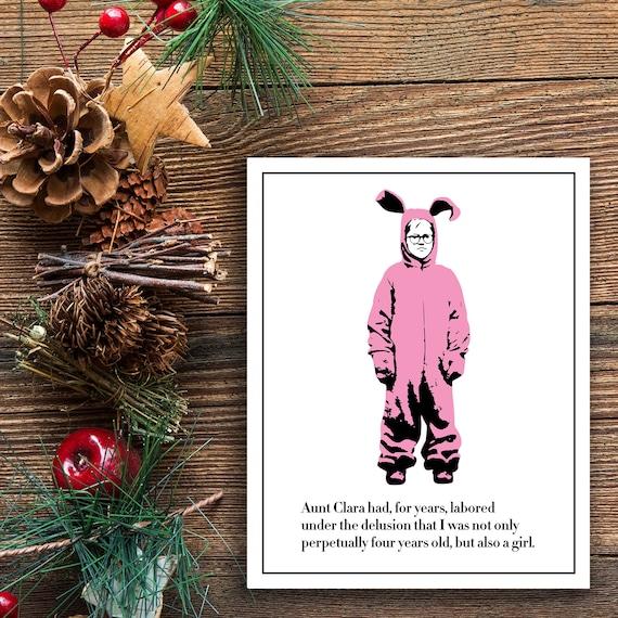Ein Weihnachten Geschichte Poster rosa Albtraum Poster Ralphie Bunny Anzug drucken lustiger Film Zitat Kunstdruck home decor Urlaub