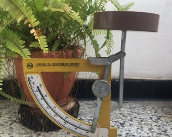 Desk scales Rare subject Scales Object art decor 80s Vintage small weighing scales Office postal Weighing machine from Bulgaria