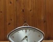 Vintage mechanical clock, Alarm clock, Wind up clock, Desk clock, Chinese clock, Working clock, Table clock, Home decor, circa 1970s clock