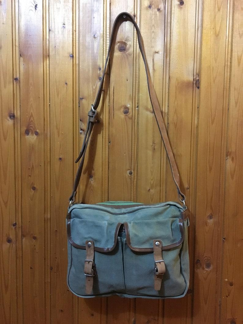 Green khaki bag, Shoulder canvas bag 70/'s Gift Idea Unisex bag Vintage school bag
