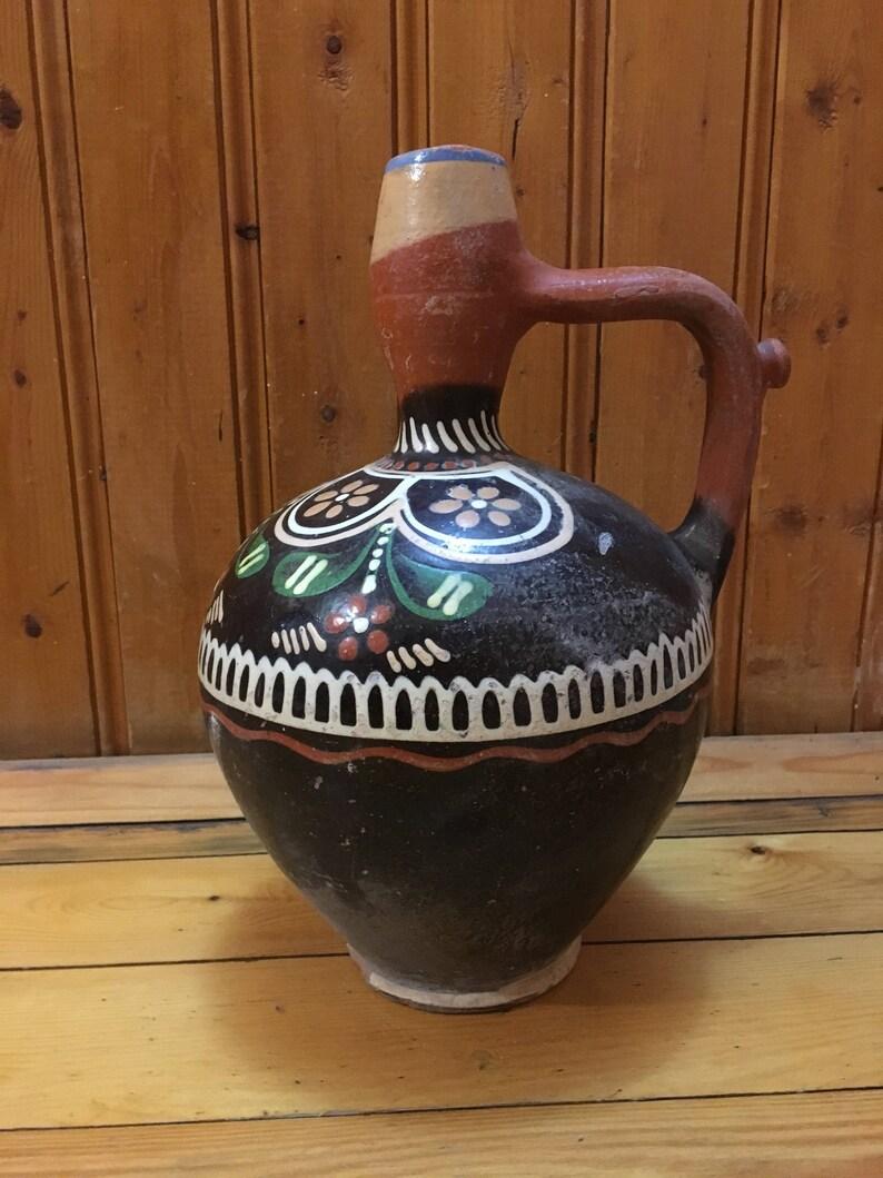 Vintage pitcher Old jug A rural pitcher earthen jug Ceramic jug,Antique pitcher Craft pitcher Hand-painted pitcher Clay pitcher