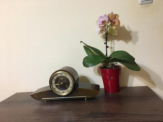 Mechanical fireplace clock, An efficient Mid century clock German, Mid  century modern desk clock german, clock in the mid-century wood,