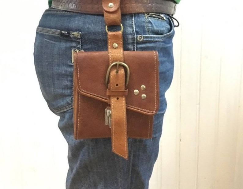 Men/'s brown leather belt bag Gift idea Belt leather case Genuine leather pouch Mens leather wallet