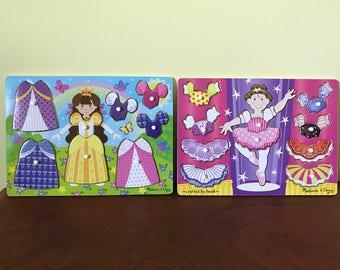 Princess Dress-Up and Ballerina Dress-Up Peg Puzzles