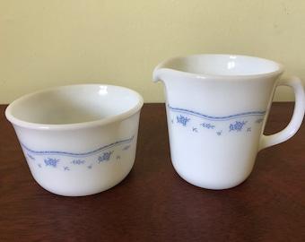 Pyrex Morning Blue Sugar Bowl and Creamer Set