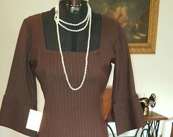 Beautiful dress in pinstriped brown wool