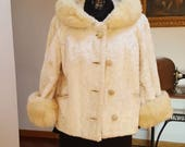 Delicious jacket immaculate years 50 39 in Astrakhan eco-friendly with cuffs and collar fur Lapin size 44