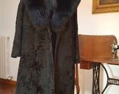 Beautiful black astrakhan fur with fox collar. Size 44-46 (M)
