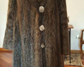 Beautiful long coat of real beaver fur Spitz 60s/70 's