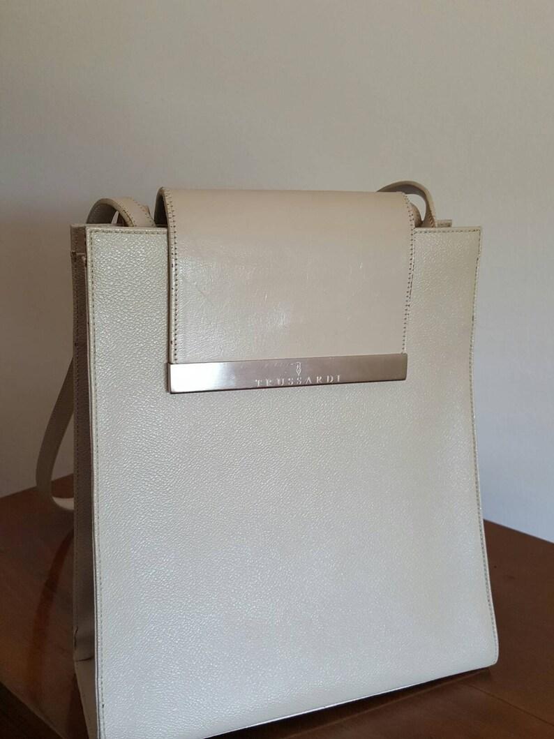 8743f73b72 Vintage color Vanilla shoulder bag original TRUSSARDI Crespo   Etsy