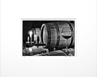 "Danilo Böhme ""Barrique"", Black and White Photography, FineArt Print in Passepartout, Original, Vintage Print, Limited, Signed"