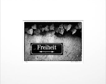 """Danilo Böhme """"Freedom"""", Black and White Photography, FineArt Print in Passepartout, Original, Vintage Print, Limited, Signed"""