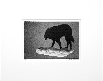 """Danilo Böhme """"The Shadow"""", Black and White Photography, FineArt Print in Passepartout, Original, Vintage Print, Limited, Signed"""
