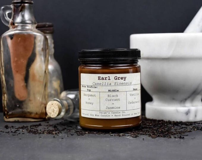 Featured listing image: Earl Grey Scented Natural Soy Wax Candle