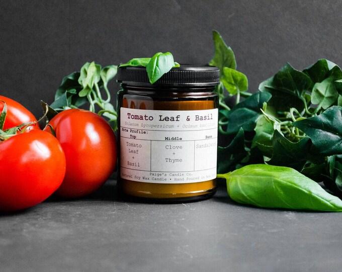 Tomato Leaf & Basil Vegan Soy Wax Candle