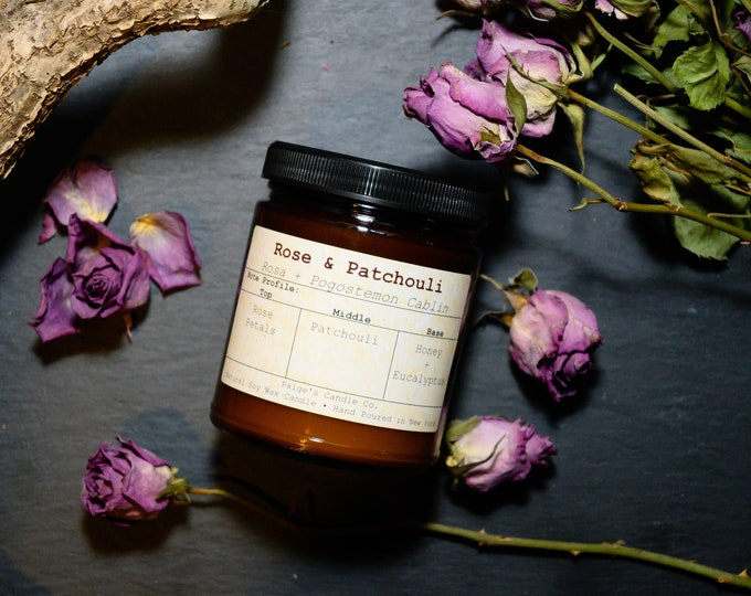 Rose & Patchouli Vegan Soy Wax Candle