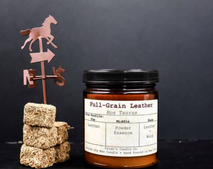 Full-Grain Leather Vegan Soy Wax Candle