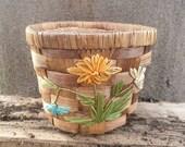Vintage wicker flower pot wicker flower basket Spring planter Easter decor Spring flower pot Spring home decor mothers day gifts
