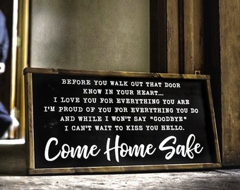 Police Wife Wood Sign Officer Gift Law Enforcement Decor Come Home Safe Military Firefighter