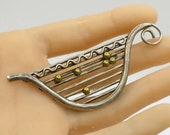 Mexico 925 sterling silver - vintage harp design two tone brooch pin - bp1302