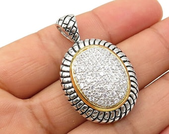 Bp1777 Vintage Two Tone Cubic Zirconia Ship Brooch Pin 925 Sterling Silver