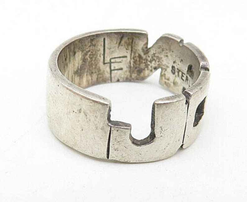 925 sterling silver vintage petite sculpted name band ring sz 4 r9308