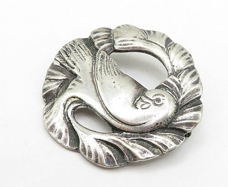 925 sterling silver bp3153 vintage antique sculpted bird round brooch pin