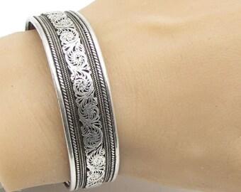 Fs 925 sterling silver - vintage antique filigree 15mm cuff bracelet -  b1162