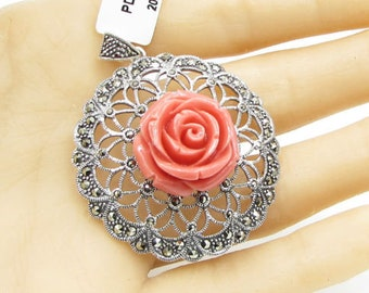 925 sterling silver - eccentric marcasite encrusted floral pendant - p1012