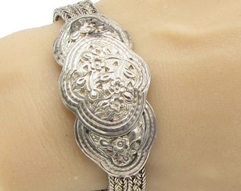 925 sterling silver - vintage floral baroque 18mm braided bracelet - b1143