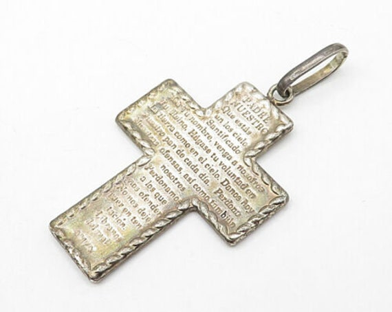 Beautiful Sterling Silver Antiqued Padre Nuestro Engraved Cross Pendant