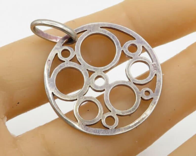 p1541 925 sterling silver vintage retro circle pattern round drop pendant