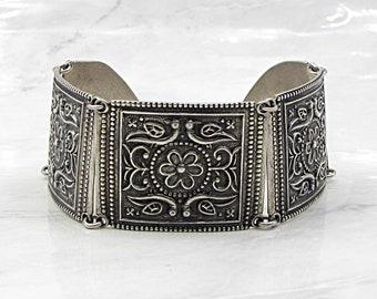 Doug paulus 925 silver - vintage bohemian floral motif 29mm bracelet b1020