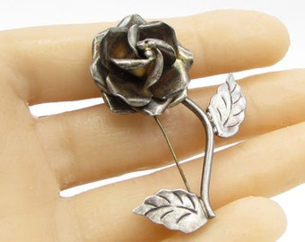 Jjs mexico 925 sterling silver - vintage 3d rose brooch pin - bp1012