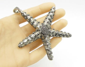925 sterling silver - large marcasite encrusted star fish drop pendant - p1090