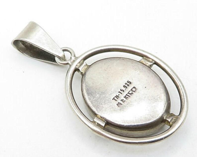 Mexico 925 sterling silver vintage smooth black onyx drop pendant p4520