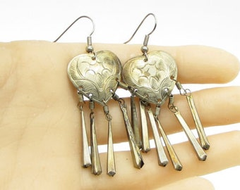 Vintage 925 silver - multi dangle sticks hand chased heart drop earrings - e1063