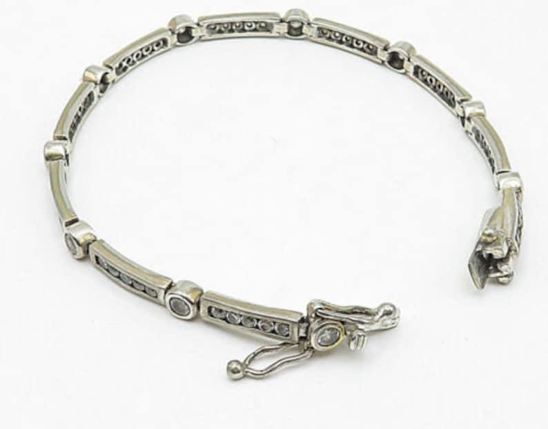 vintage round topaz alternating cable link chain bracelet b4535 925 silver