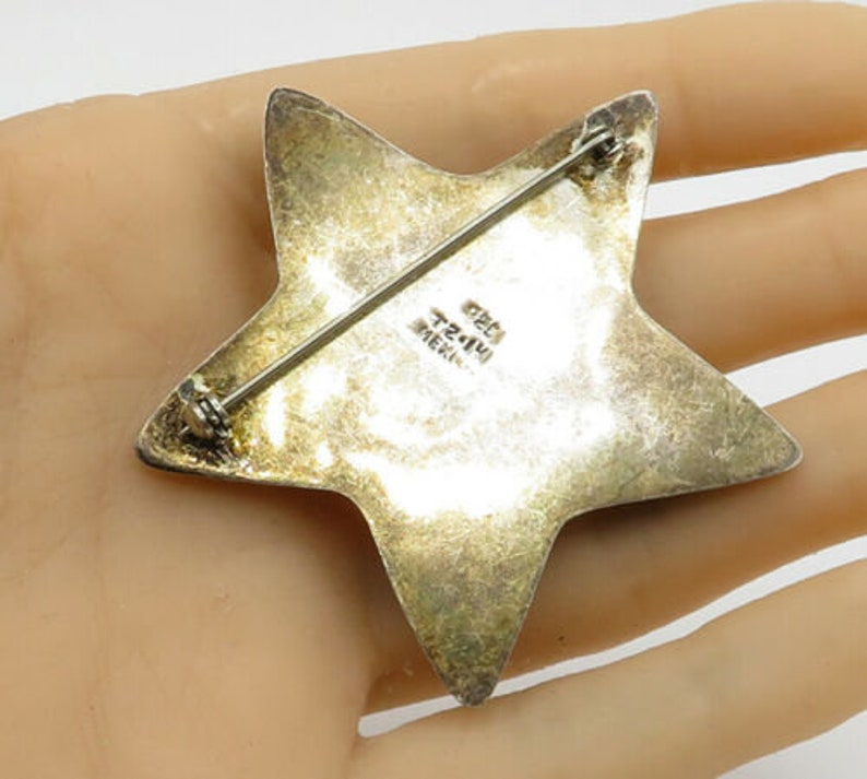 Mexico 925 sterling silver vintage cut out stars puffy star brooch pin bp1258