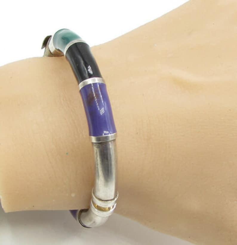 b1130 vintage multicolor enamel puffy bangle bracelet 925 sterling silver