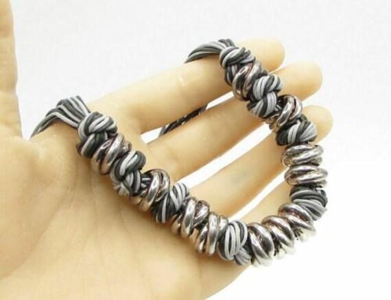 Milor 925 sterling silver - monochrome knot & bead