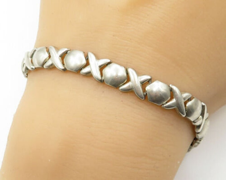 925 sterling silver b1753 slim x/'s /& o/'s pattern bracelet