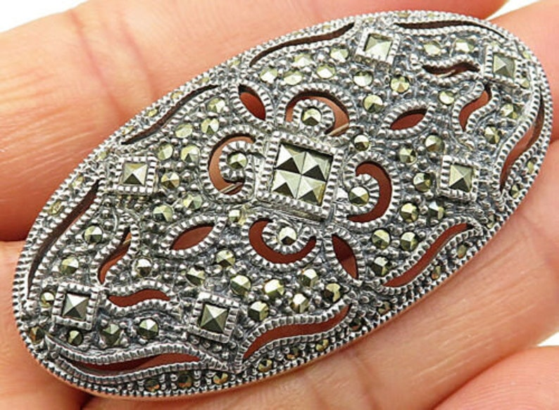 Judith jack 925 silver bp2465 vintage marcasite decor cut-out brooch pin