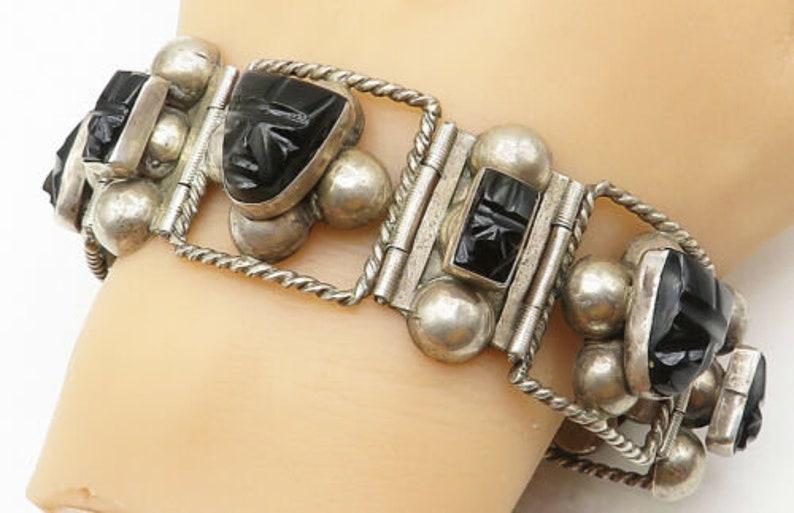 Mexico 925 silver vintage black jade carved faces chain bracelet b5110