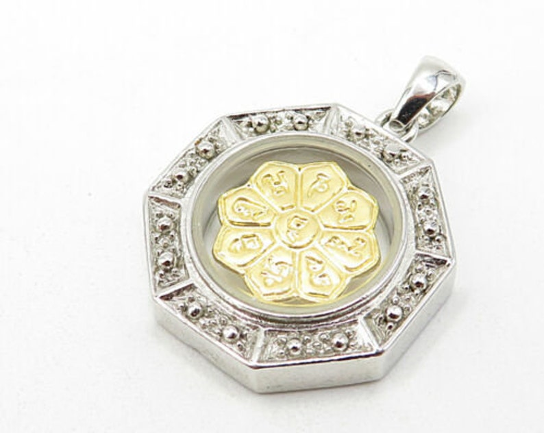 p2881 vintage petite two tone floral magnetic pendant 925 sterling silver